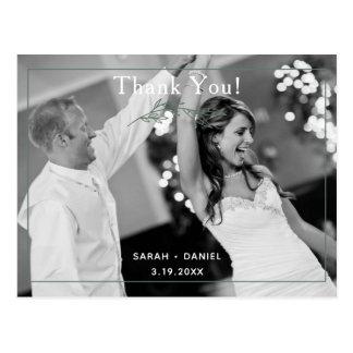 Modern Sage Wreath Wedding Thank You Postcard
