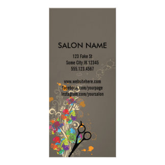 modern salon service menu floral hair colorful