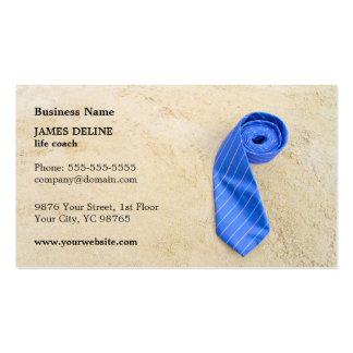 Modern Sand Blue Tie Life Coach Business Card