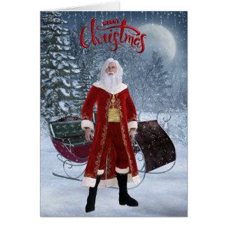 Modern Santa and Sleigh Christmas Card