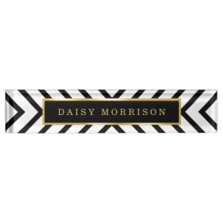 Modern Sassy Gold Black White Stripes Pattern Name Plate