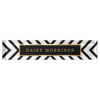 Modern Sassy Gold Black White Stripes Pattern Name Plates