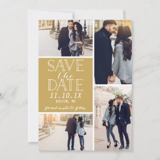 Modern Save The Date 4-Photo Collage Gold