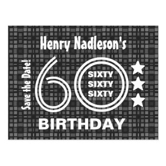 Modern Save the Date 60th Birthday Party A03A Postcard