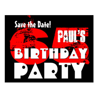 Modern Save the Date 65th Birthday Party V19 Postcard