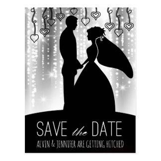 Modern Save the Date Black Gray White Lights Glam Postcard