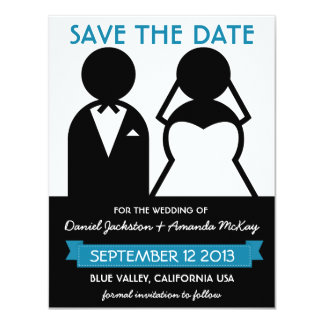 "Modern Save the Date Bridal Couple Icons 4.25"" X 5.5"" Invitation Card"