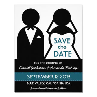Modern Save the Date Bridal Couple Icons Invite