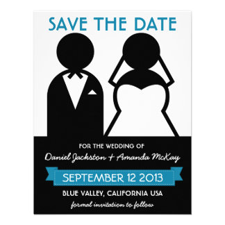 Modern Save the Date Bridal Couple Icons Personalized Invitations