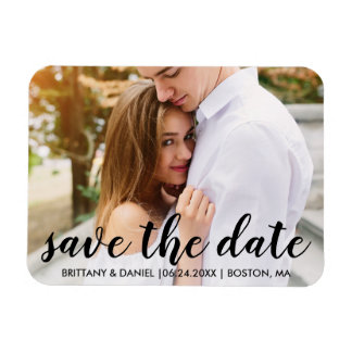 Modern Save The Date Engagement Magnet Blk Script