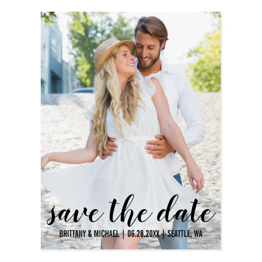 Modern Save The Date Engagement Photo BWB Postcard