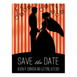 Modern Save the Date Golden Red Stripes Glam Postcard