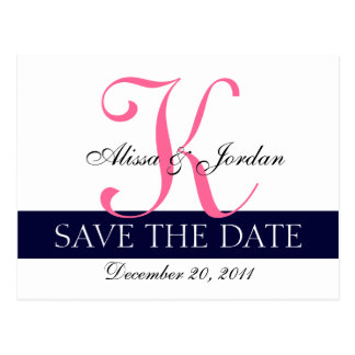 Modern Save the Date Navy Blue Pink Monogram Postcard