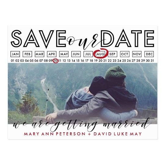 Modern Save the Date Photo postcard with calendar
