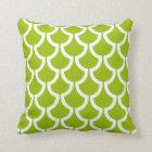 Modern Scales Geometric | lime green white Throw Pillow
