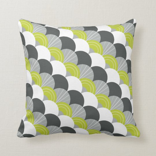 MODERN scallop fan pattern charcoal grey green Throw Pillow
