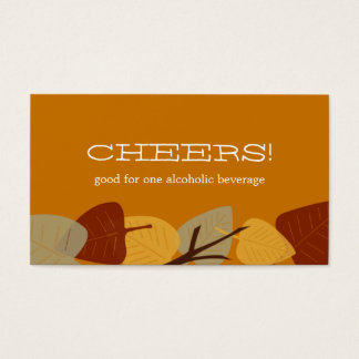 Modern scattered leaves autumn bar drink ticket