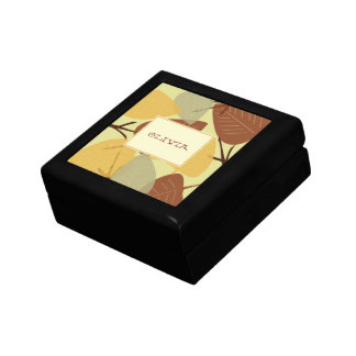 Modern scattered leaves autumn personal trinket jewelry boxes