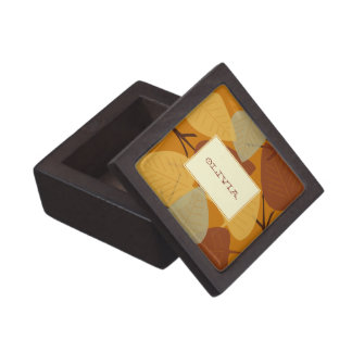 Modern scattered leaves autumn personal trinket premium jewelry boxes