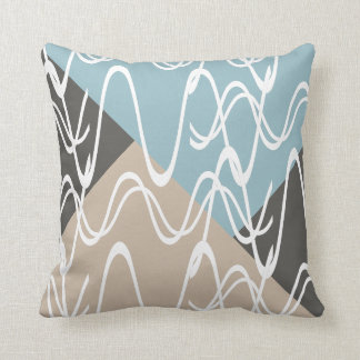Modern, scribble art on neutral shades & pale blue throw pillow