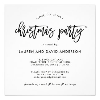Modern Script | Black and White Christmas Party Card