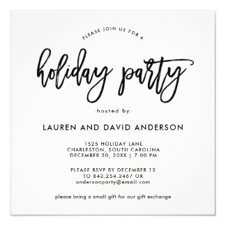 Modern Script | Black and White Holiday Party Card