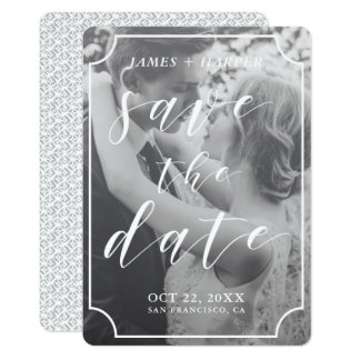 Modern Script Border | Custom Photo Save the Date Card