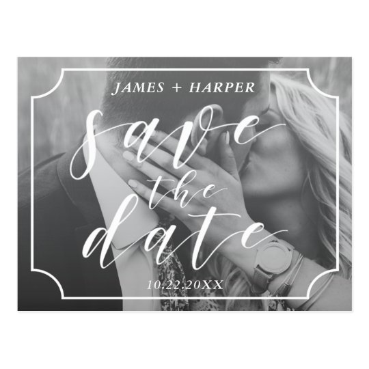 Modern Script Border | Custom Photo Save the Date Postcard