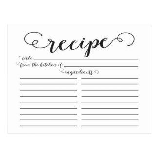 Modern Script Bridal Shower Recipe Cards Postcard