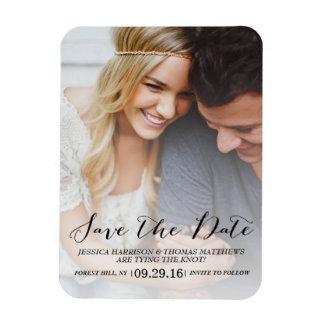 Modern Script | Custom Photo Save The Date Rectangular Photo Magnet