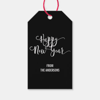 Modern Script Happy New Year's Gift Tags