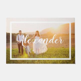 Modern Script Monogram Wedding Photo Doormat