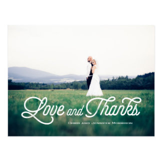 Modern Script Newlyweds Love and Thanks Postcard