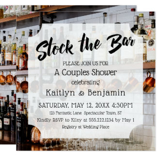 Modern Script, Photo Stock the Bar Couples Shower Card