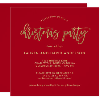 Modern Script | Red and Faux Gold Christmas Party Card