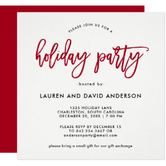 Modern Script | Red and White Holiday Party Card