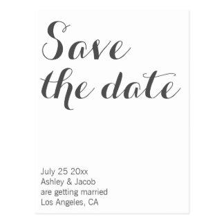 Modern script save the date postcard