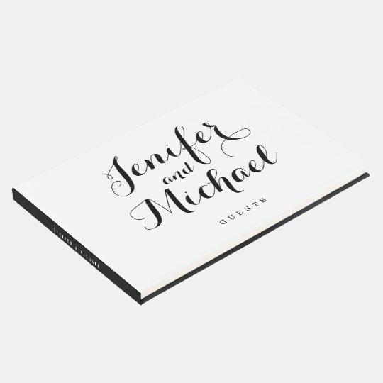 Modern Script & Stripes Guest Book