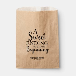 Modern Script Sweet Ending New Beginning Wedding Favour Bag