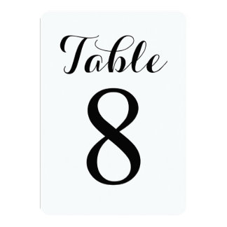 Modern Script Table 8 | Table Numbers Card