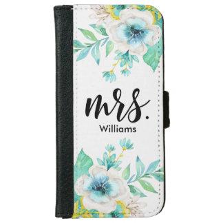 Modern Script Vintage Floral iPhone 6 Wallet Case
