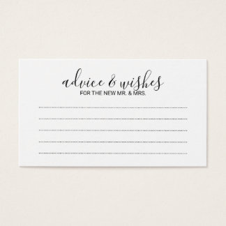 Modern Script Wedding Advice and Wishes Business Card