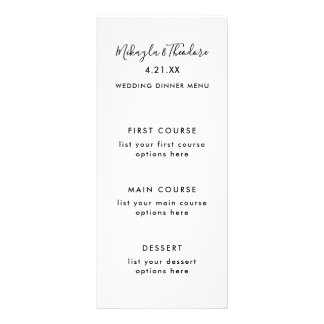 Modern Script Wedding Menu Card Solid Colour Back