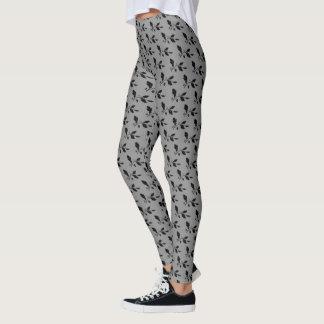 Modern Scroll Black Gray Leaf Pattern Custom Color Leggings