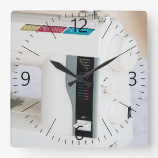 Modern sewing machine square wall clock