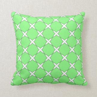 Modern Shabby Chic Green Cross Pattern Throw Pillow