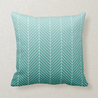Modern Shaded Green Herringbone Chevron Zig Zags Throw Pillow