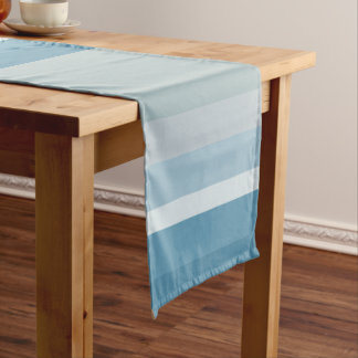 Modern shades of teal blue stripes pattern short table runner