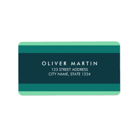 Modern Shades of Teal Green Colour Block Address Label