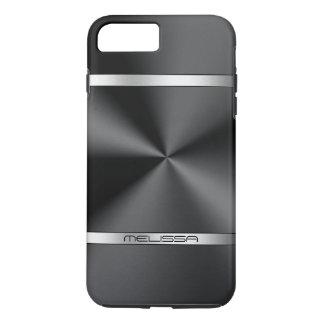 Modern Shiny Black Metallic Print Silver Accent iPhone 7 Plus Case
